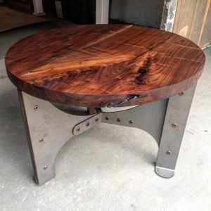 Walnut and steel table
