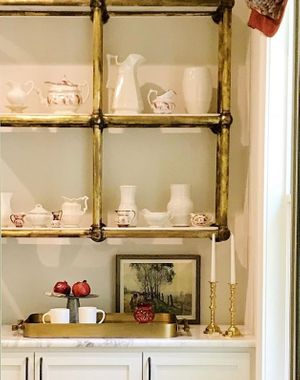 Antiqued Brass shelves