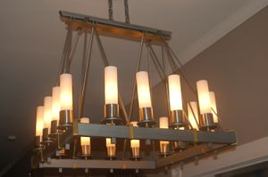 Custom steel and brass chandelier
