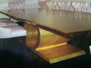 Gold leafed steel table base